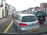 Dashcam footage shows a silver Volkswagen Golf suddenly pull into the left hand lane before the driver appears to slam on the brakes