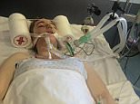 Adrian Derbyshire has shared pictures of his daughter Julia lying in hospital, pictured, moments from death to highlight the consequences of online bullying