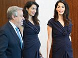 Human rights lawyer Amal Clooney met with United Nations Secretary-General Antonio Guterres, on Friday