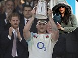 Beaming Harry looks on with pride as England rugby skipper Dylan Hartley lifts the Calcutta Cup after thrashing Scotland 61-21