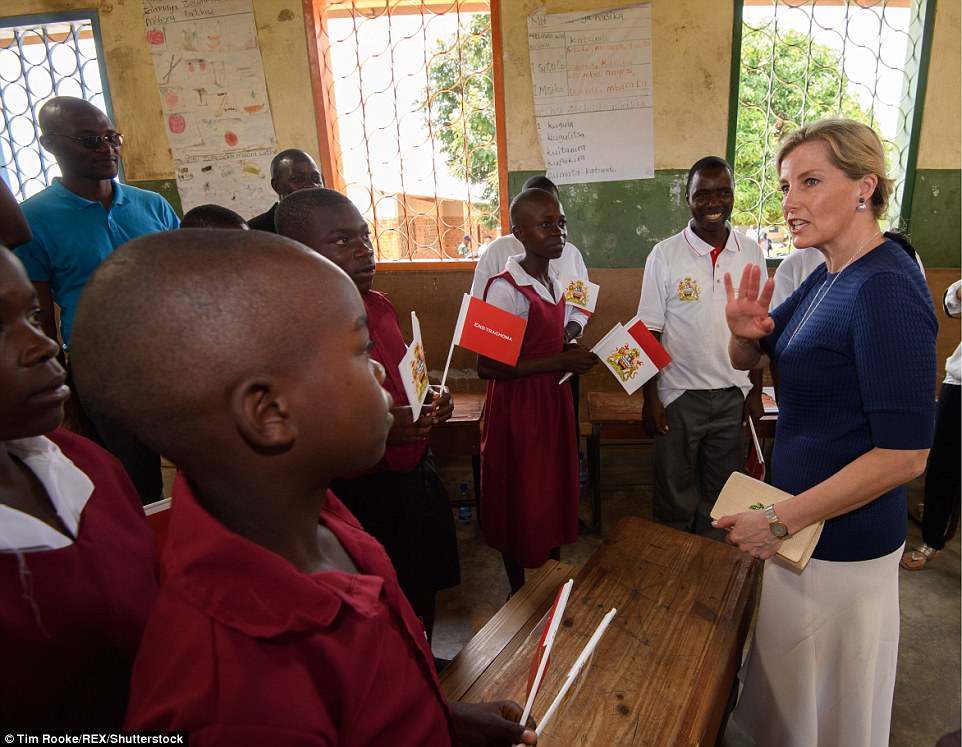 Sophie, 52, chatted to schoolchildren at the Chisuwe Primary School in the Kasungu district