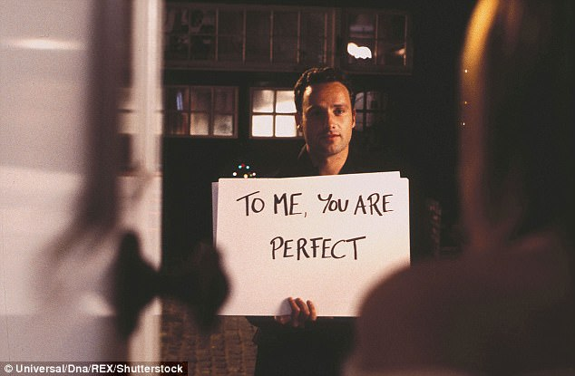 All loved up! In the original film, Andrew Lincoln turned up on Keira Knightley's doorstep with the sign reading: 'To Me, You Are Perfect'