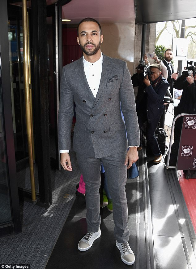 Back at work: Marvin Humes attended the  TRIC Awards 2017 (The Television And Radio Industries Club) in London, just four days after wife Rochelle gave birth