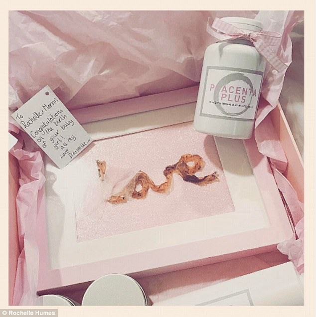Thanks!The gift box included a pack of pills made from Rochelle's placenta, a frame with the dried umbilical cord shaped into the word love and a handwritten note reading: 'To Rochelle and Marvin, Congratulations on the birth of your baby girl, love Danielle!'