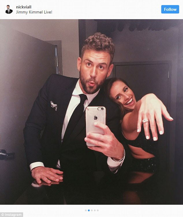 Happy with her rock: Nick Viall proposed to Vanessa Grimaldi on Monday's finale of The Bachelor. But soon after their After The Final Rose special aired, fans accused the engaged couple of being 'awkward.' Here they are seen in new selfies