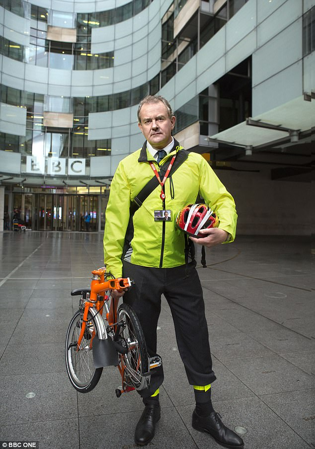 Taking tips from Hugh? In W1A it is Hugh Bonneville who is often injured by his bicycle