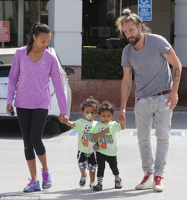 Their boys! Zoe Saldanaand her husband Marco Perego were spotted holding hands with their twin sons, Bowie and Cy, ages two, while getting frozen yogurt