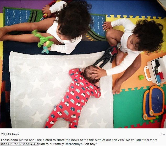 So sweet: Saldana revealed the birth of her third son, Zen, last month on Instagram