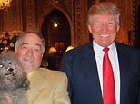 Michael Savage is posing with his dog and Donald Trump