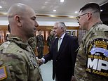 U.S. Secretary of State Rex Tillerson, center, meets with U.S. and South Korea soldiers before the lunch meeting at the Camp Bonifas near the border village of Panmunjom, which has separated the two Koreas since the Korean War, in Paju, South Korea, Friday, March 17, 2017. (AP Photo/Lee Jin-man, Pool)