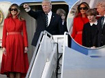 melania red puff.jpg  Lady in Red: Trump heads to Mar-a-Lago for the FIFTH time since becoming president after Barron's first flight in Marine One - but all eyes are on Melania who stuns in regal coatdress and matching gloves First Family touched down in West Palm Beach in Florida before being taken to Mar-a-Lago for the weekend Earlier flew in Marine One from the South Lawn of the White House to Andrews Air Force Base in Maryland  Melania managed to steal the show however, outfitted in a stunning Alice Roi red coat dress, matching red leather belt and gloves Barron Trump was also at the White House on Friday for the first first time since the weekend of President Trump's inauguration in January  The 10-year-old was photographed  with his mom Melania and dad walking across the lawn outside the Oval Office to Marine One By Chris Spargo For Dailymail.com PUBLISHED: 17:08 EDT, 17 March 2017 | UPDATED: 22:36 EDT, 17 March 2017     e-mail   3.9k shares 1.3k View comments The First Family to