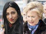 Reunited:Hillary Clinton (left) stopped by the John Barrett Salon in Bergdorf Goodman on Thursday with Huma Abedin (right)