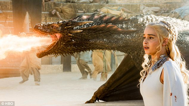 Slaying: 'The dragons this year are the size of 747s,' the director Matt Shankman told EW, adding: 'Drogon is the biggest of the bunch - his flame is 30-feet in diameter!'