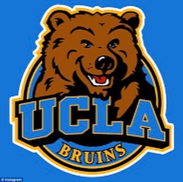 'It's lit my friends': The actress shared a photo of the university's official logo, which included their mascot, a bruin bear