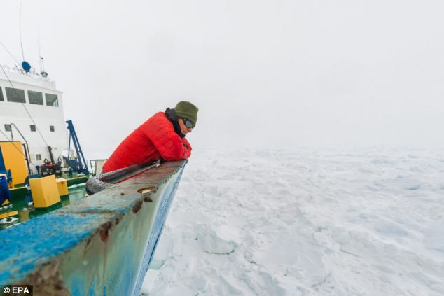 The researchers on board have managed to get messages out saying they are well-stocked and continuing their research despite being trapped in five metres of ice sheets 1,500 miles south of Tasmanian capital Hobart
