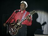 """FILE - In this Saturday, March 28, 2009 file photo, American guitarist, singer and songwriter Chuck Berry performs during the """"Rose Ball"""" in Monaco. On Saturday, March 18, 2017, police in Missouri said Berry has died at age 90. (AP Photo/Lionel Cironneau)"""