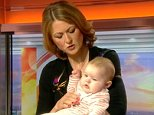 BBC Breakfast presenter Rachel Burden, pictured above right, has been hailed 'The Baby Whisperer' after her quick on-air thinking stopped a baby from crying during a live TV interview