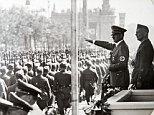 Field Marshal Wolfram von Richthofen is pictured here marching benind General Franco during the Spanish civil War