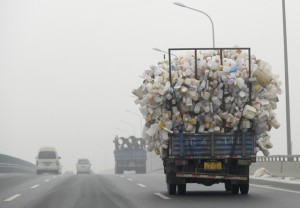 A truck containing used plastic bottles