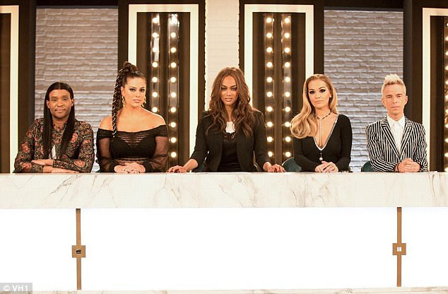 'I'm back!' Ashley will also return as judge on cycle 24 of America's Next Top Model on VH1 alongside original host Tyra Banks (M), Drew Elliot (R), and Law Roach (L)