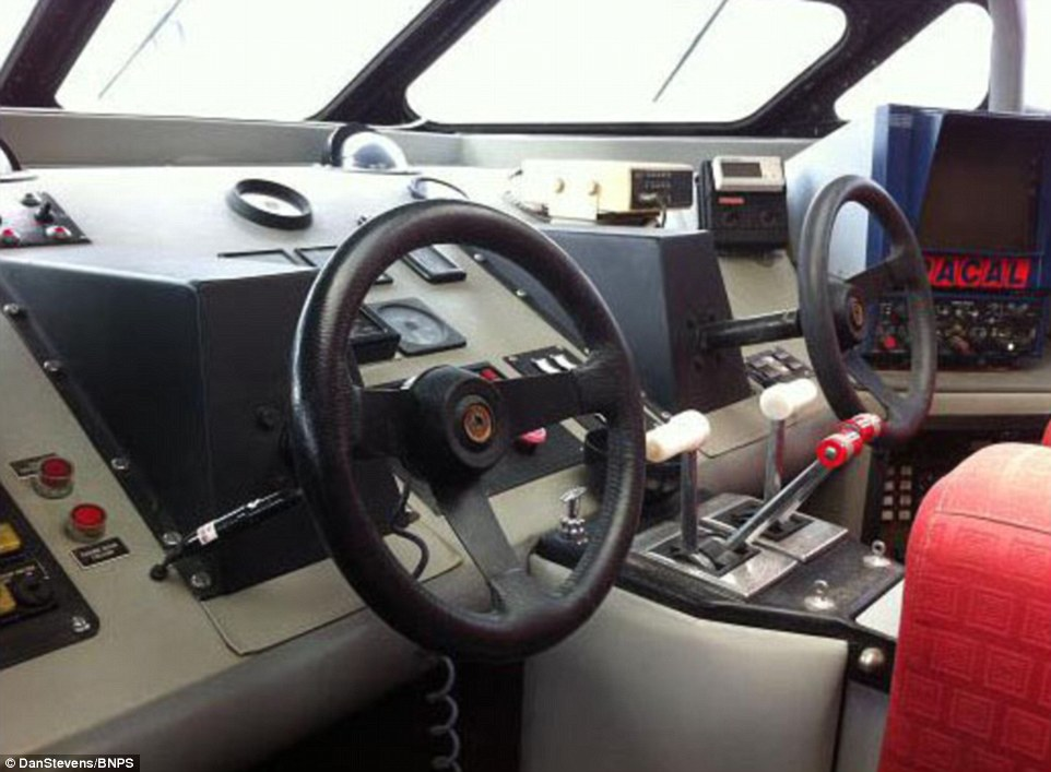 The cockpit on the boat had been kept just the same over the years. Dan, 41, a former merchant navy officer from Plymouth, snapped it up and has since poured around 1,000 man hours and £500,000 into getting the boat up and running again