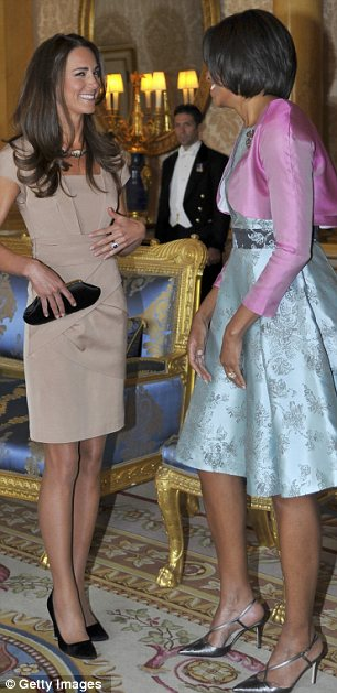 Style stakes: The last time the two women met, in London in May last year, the Duchess pipped the U.S. First Lady to the post in a beige Reiss shift. In turn, Mrs Obama went for a design by Barbara Tfank