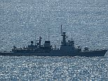 This image was taken off the coats of Gibraltar earlier today. The Spanish ship, pictured right flying the Spanish flag, made incursions into British waters where it was followed by HMS Scimitar (left)