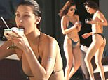 Exclusive... 52364954 Model Bella Hadid showed off her toned physique in a skimpy bikini while celebrating her friend's birthday in Cabo San Lucas, Mexico on April 2, 2017.The runway star chose a black triangle cut top with thong bottoms.***NO USE W/O PRIOR AGREEMENT - CALL FOR PRICING*** FameFlynet, Inc - Beverly Hills, CA, USA - +1 (310) 505-9876