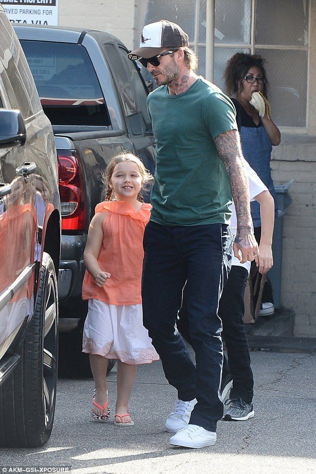 Lucky girl! Harper Beckham proved just why on Tuesday as she enjoyed a pamper session with her father David and brother Cruz at Beverly Hills' luxury Olive And June salon