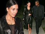 01.April.2017 - Brentwood, CA - USA ** EXCLUSIVE ALL ROUND PICTURES ** **WEB EMBARGO UNTIL 10:30AM PST ON 04/03/17** AG_798385 - Brentwood, CA - Kim Kardashian and Kayne West are spotted having a weekend date night at a sushi restaurant. Kim is all smiles as she stays close to her husband on a chilly evening in Brentwood. She keeps it simple but still sexy in an all black outfit with a sheer top, shorts, and a leather coat. Kanye also kept it clean and minimal in a double denim outfit with his new hairdo. The pair look in love as ever as they spent over 3 hours dining at the swanky spot. Kim has been less in the limelight as she and her husband spend more time with one another and their loving family. Shot on 04/01/17 Pictured: Kim Kardashian, Kanye West *STRICTLY AVAILABLE FOR UK USE ONLY* BYLINE MUST READ : AKM-GSI-XPOSURE ***UK CLIENTS - PICTURES CONTAINING CHILDREN PLEASE PIXELATE FACE PRIOR TO PUBLICATION *** UK CLIENTS MUST CALL PRIOR TO TV OR ONLINE USAGE PLEASE TELEPHONE 44 208
