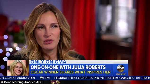 Cartoon time: Roberts was on GMA to promote her new movie The Smurfs
