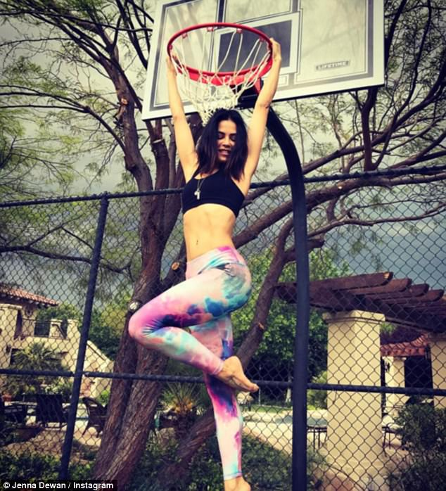 Check her out:There is also a basketball court which Jenna put to use on Monday but jumping up and holding on to the ring