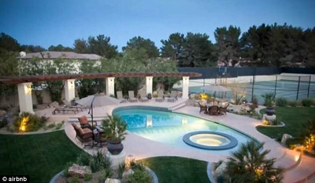 Nice spot:The 36-year-old actors entertained at a stunning - and sporty - Spanish estate in Las Vegas, Nevada, courtesy of Airbnb