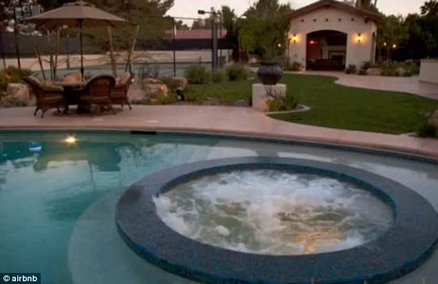 Jump in:The Airbnb house is made for BBQs as outside it has jacuzzi and huge heated pool