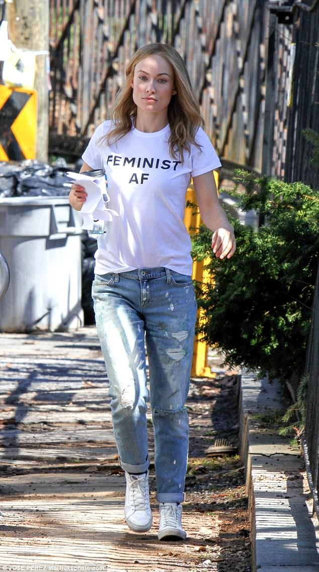 Feminist: Olivia Wilde wore her thoughts on her chest as she stepped out in New York City on Tuesday
