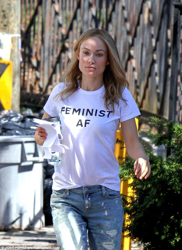 Get the message: The 33-year-old wore a T-shirt emblazoned with the words: 'Feminist AF' on set of her new movie Life Itself, in the city