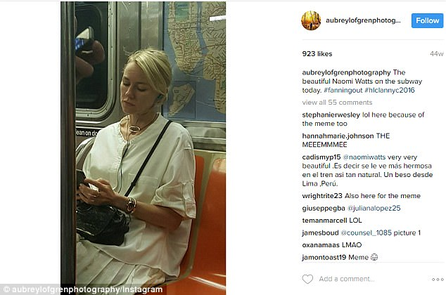 Not so sneaky: Last year, a fan shared a snap of Naomi riding the train in New York and shared it to Instagram thinking the actress hadn't noticed