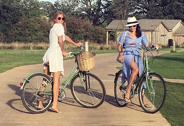 Naturally, Millie has an enviable social circle, and often posts pictures of herself enjoying lunches or nights out with her gorgeous, skinny, rich friends. These include Prince Harry's girlfriend Meghan Markle, with whom she enjoyed a cycle ride in Oxfordshire last year (above)