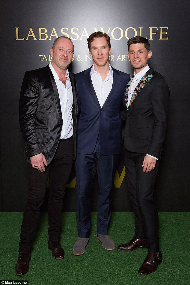 Stylish pals:The Sherlock star turned out to support his pal and stylist Joe Woolfe and his business partner Johan Labassa, but admitted to partygoers that he was looking forward to getting back home to his newborn son and wife Sophie Hunter, 39