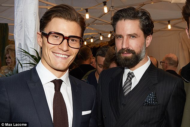 Pals: The newly engaged hunk was seen in deep discussions with good friend Jack Guinness about tailoring for his wedding