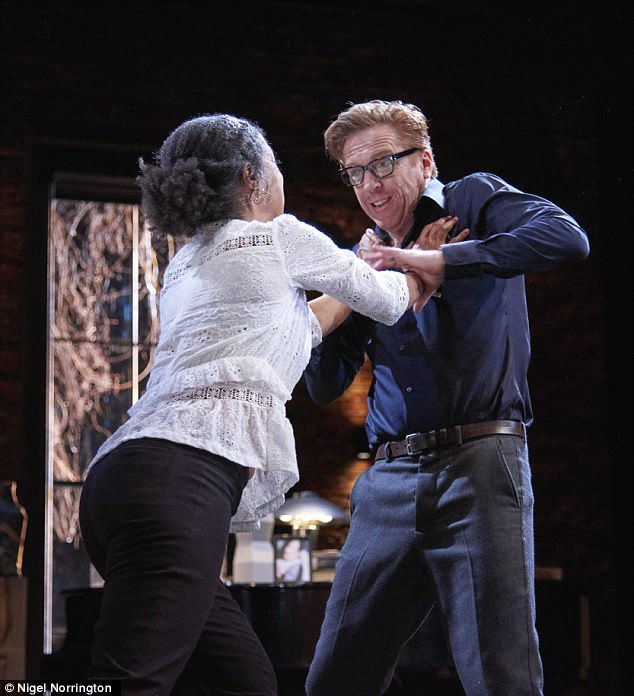 Getting physical: Damian andSophie tussled with each other on stage