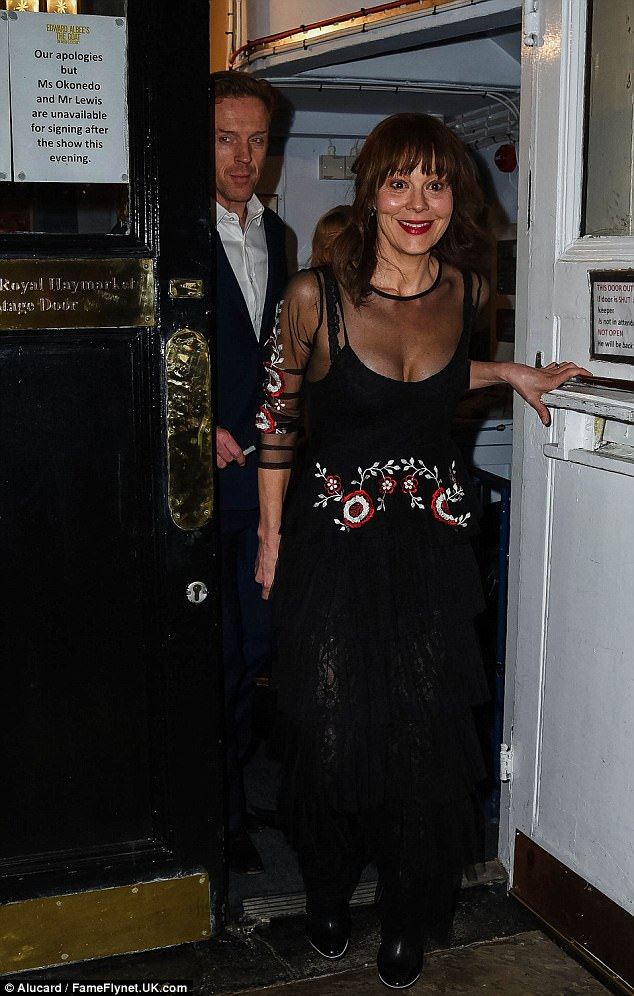 Blooming lovely!Helen looked sensational in a floor length black gown with a sheer overlay that was embroidered with floral detailing