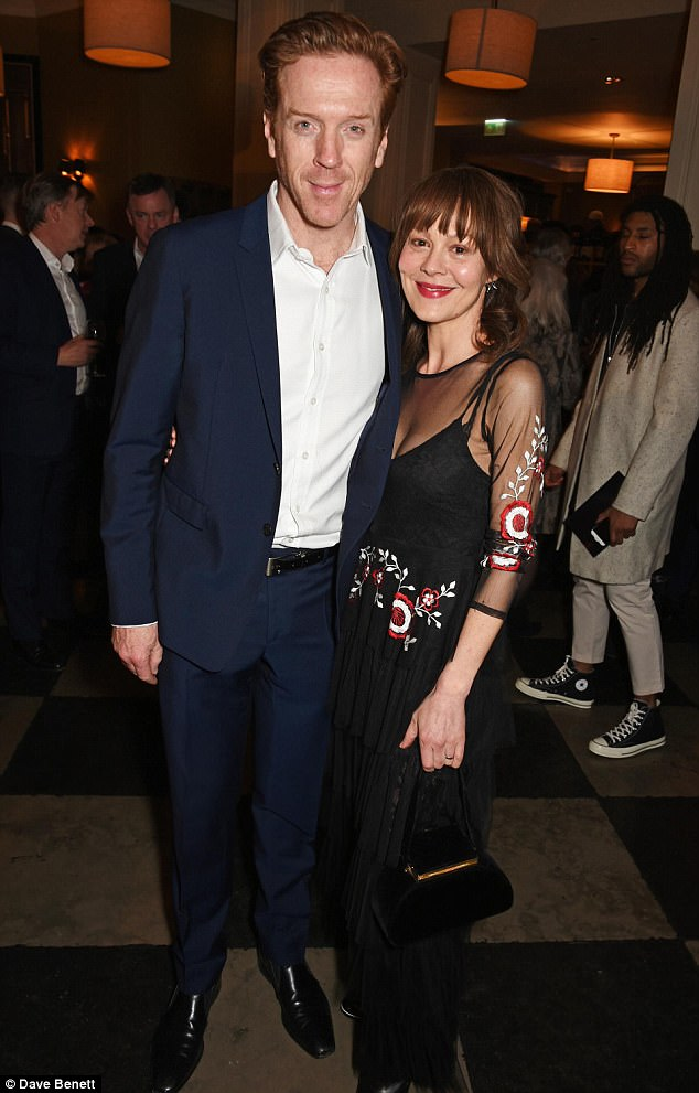 Chirpy:Damian Lewis looked in great spirits after the press night of The Goat or Who is Sylviaas he attended the afterparty with wife Helen McCrory on Wednesday