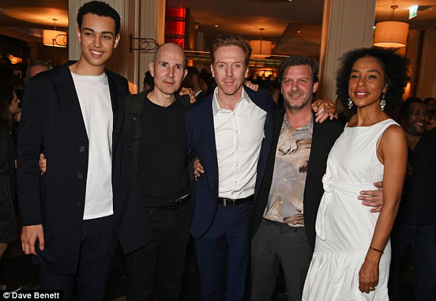 Cast and crew:(L to R) Cast members Archie Madekwe, director Ian Rickson, Damian Lewis, Jason Hughes and Sophie Okonedo cuddled up for a snap together