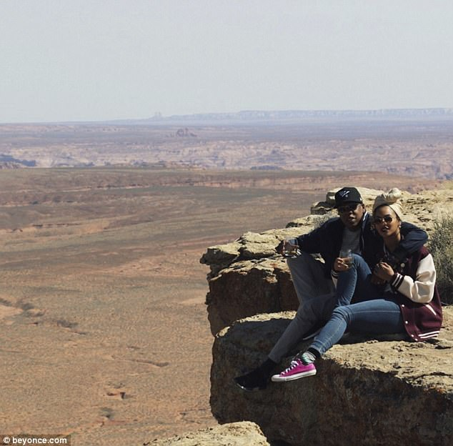 Amazing setting: The 35-year-old singer is seen enjoying a trip to the Grand Canyon with her rap legend husband