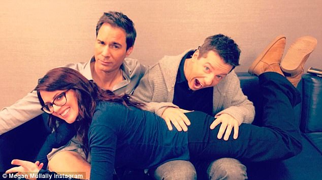 Nothing's changed... Megan shared this fun photo of herself and her castmates, Eric, 53, and Sean, behind the scenes at a recent photo shoot