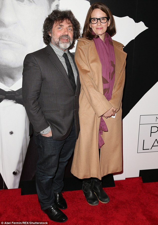 Revival: Tina Fey, 46, arrived on Broadway to attend the opening night of Present Laughter with husband Jeff Richmond, 56, on Wednesday