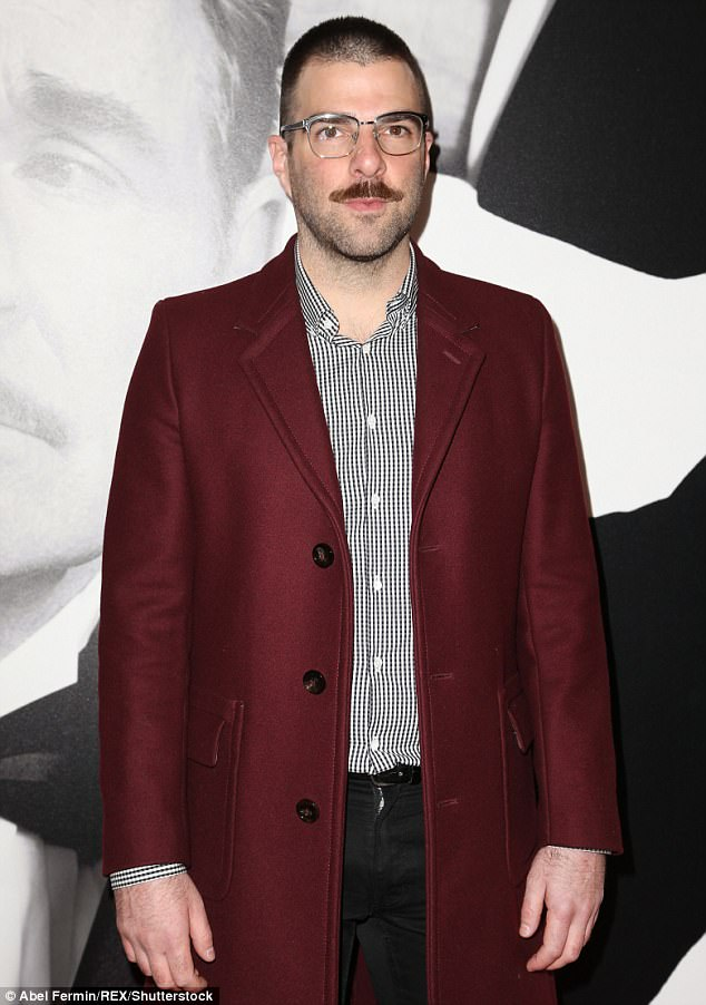 Starstruck:Zachary Quinto of Star Trek fame showed up in a maroon top coat and striped shirt while rocking a mustache