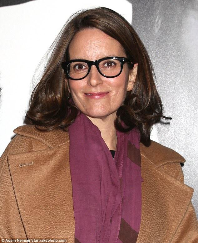 Classic: Tina rocked her trademark black glasses
