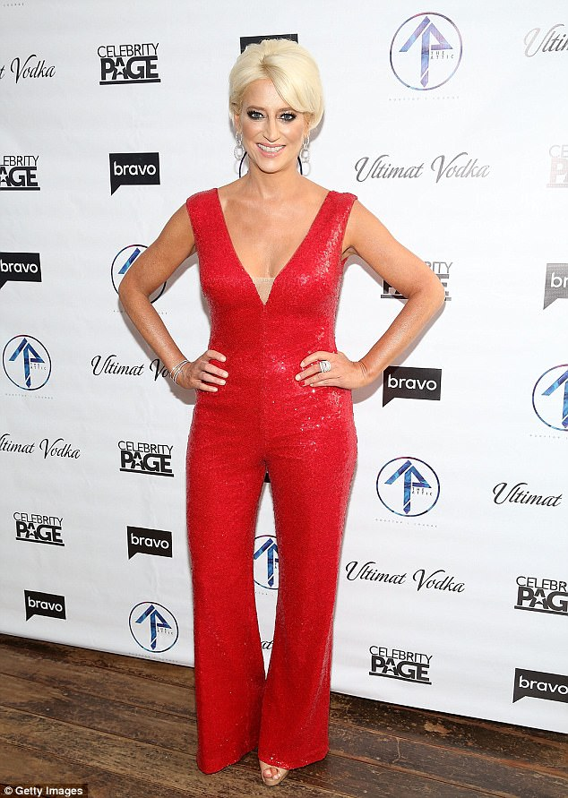 Standing out:Dorinda Medley wowed in a vibrant red jumpsuit as she styled her platinum blonde locks in a chic updo